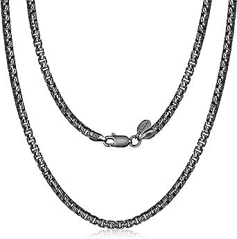 Amberta Collana Placcata Rodio Nero su Argento Sterling 925 per Uomo - Maglia Veneziana Rotonda - Spessore 3 mm - Misure Varie