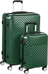AmazonBasics – Trolley mit geometrischem Muster, 2-teiliges Set (55 cm, 78 cm), Grün