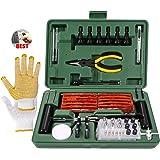 TECCPO kit de Reparation avec mèches pour Pneu 100PCS, mèche Pneu crevaison, Kit de dépannage pour Voitures, Moto,Tracteur, J