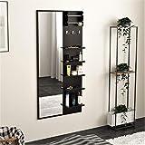 BLUEWUD Freddie Wall Hanging Dressing Table/Mirror with Multifunctional Shelves, Bangle Holder & Hanging Hooks (Wenge)