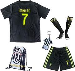 2018/2019 Juventus #7 Cristiano Ronaldo Third Kinder Fußball Trikot Hose und Socken