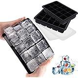 LessMo Bac à Glaçons à 15 Compartiments, Lot de 2 Grands Bacs à glaçons en Silicone avec Couvercle, Bac à Glaçons Empilable e