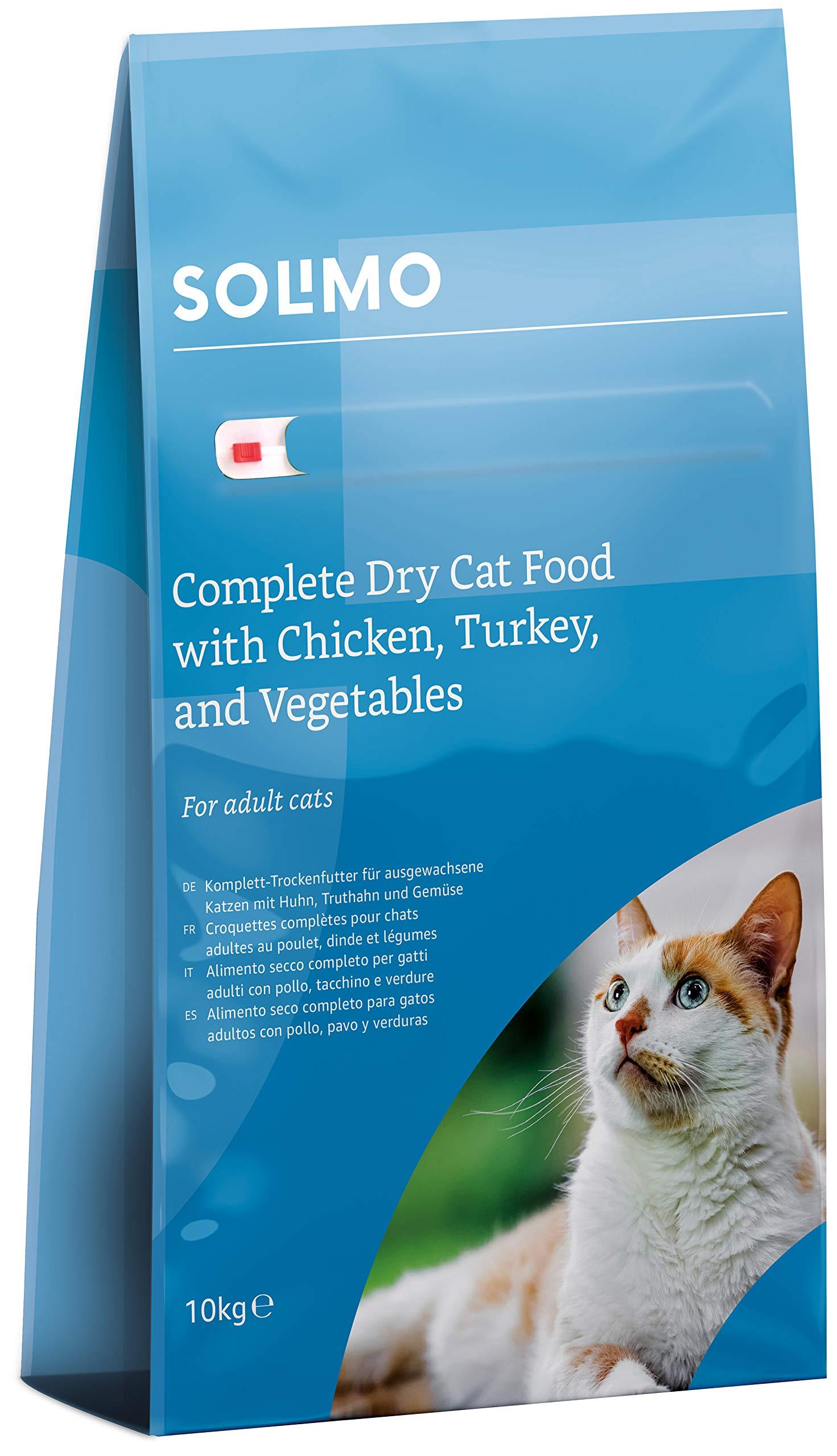 Marca Amazon – Solimo – Alimento seco completo para gatos adultos con pollo, pavo y verduras, 1 Pack de 10 kg