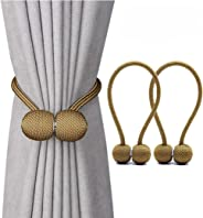 Jacalee Magnetic Curtain Tiebacks Decorative Rope Hold-backs Holder 1 Pair Gold 16 Inches