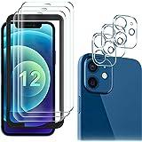 GESMA 3 Piezas Protector de Pantalla Compatible con iPhone 12, 3 Piezas Protector de Lente de Cámara, Cristal Templado de HD