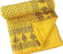 Jaipur Textile Hub Single Floral Cotton Jaipuri Quilt(60x90-inch, Multicolour)