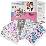 50 Pezzi MADE IN ITALY Mascherine Bambini Colorate Protettiva Personale 3 strati CE tipo IIR, Nasello Regolabile, Pacchi indi