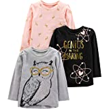 Simple Joys by Carter's 3-Pack Graphic Long-Sleeve Tees Niñas, Pack de 3