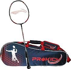 Li-Ning Pro Badminton Combo (Turbo X 90 II Lightweight Badminton Racquet, Black/Grey + Prokick Double Zipper Badminton Kitbag, Navy)