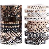 Lot de 20 rouleaux de ruban adhésif Washi décoratif doré pour travaux manuels, scrapbooking, planificateur et emballage cadea