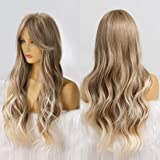 Ebingoo ombre Blonde Wig with bangs for Women Long Curly Soft Synthetic Heat Resistant Fiber Wigs for daily wear for cosplay…