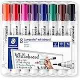 Staedtler Lumocolor 351 WP8 Whiteboard-marker (ronde punt ca. 2 mm lijnbreedte, set van 8 kleuren, hoge kwaliteit, droog en z