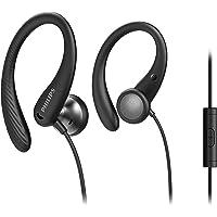 Philips Sportkopfhörer A1105BK/00 mit Mikrofon, In Ear Kopfhörer (Flexible Ohrbügel, Bass-Beat-Öffnung, IPX2…
