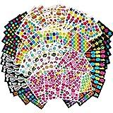 MOKIU 65 Feuilles Gommettes Autocollant (Plus de 4000 Gommettes) Autocollant en Coeur Étoiles Pois Colorés Stickers pour Scra