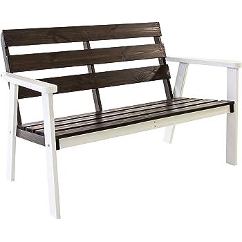 Ambientehome Gartenbank 2-Sitzer Bank Massivholz Holzbank HANKO, Weiß/Taupegrau