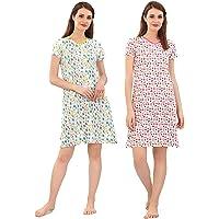 Zebu V Neck Printed Nightdress (Pack of 2)