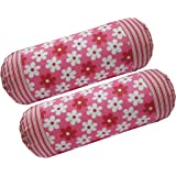 HSR Collection 100% Cotton 2 Piece Printed Bolster Cover - 16 X 32 inches (Pink)