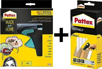 Pattex Made at Home Heißklebepistole mit mechanischem Vorschub und hitzeisolierter Düse, inkl. 6 Klebesticks, Ø 11 mm (Set, bestehend aus Klebepistole + 500g Klebesticks)