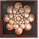 Collectible India Metal Antique Flower On MDF Panel Wall Mounted Hanging Art Sculpture Modern Floral Design Home Office Decor
