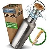Blockhütte® Premium Edelstahl Trinkflasche isoliert mit [GRATIS Bürste] - Die Innovative Isolierflasche ist auslaufsicher. -