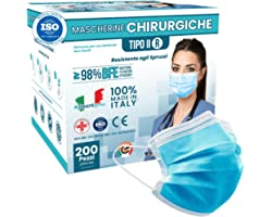 200 Mascherine CHIRURGICHE AZZURRE per Adulti Certificate CE italia Tipo IIR BFE ≥ 98% Mascherina Chirurgica colorata AZZURRA
