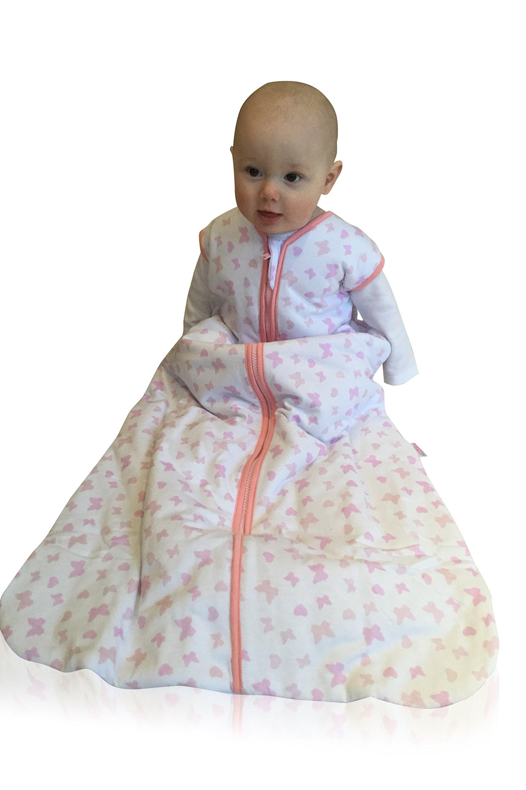 76cm Snoozebag Butterflies and Hearts 100/% Cotton Girls Summer 1.0 Tog Nursery Baby Sleeping Bag Pink 0-6 Months