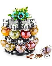 MACHAK Designer Round Multipurpose Revolving Plastic Spice Rack 16 Piece Condiment Set, 300ml, Siver Finish, Clear