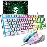 UrChoiceLtd Rainbow Backlit Ergonomische Usb Mechanisch gevoel Gaming-toetsenbord + 2400 DPI 6 knoppen Optische regenboog LED