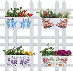 Wonderland (Set of 4) 12 inch Printed Railing Planters for Home, Garden, Balcony Decor, Decoration, Garden pots and Planters