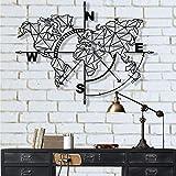 Carte du Monde en métal Boussole Décoration Murale en métal Signe métallique Art de Carte du Monde Art Mural en métal Décorat