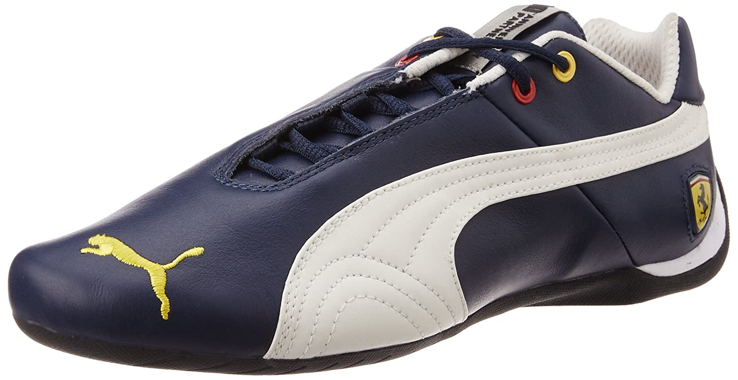 puma leather shoes. puma unisex future cat leather sf -10- dress blues and mystic blue sneakers - 6 uk: buy online at low prices in india amazon.in shoes