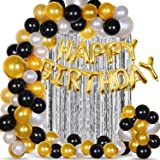 Party Propz 64Pcs Golden, Silver and Black Balloon Birthday Decorations Items Combo for Kids,Adult Birthday