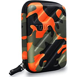 Tizum Global Electronic Travel Small Gadgets   Accessories Organizer Multipurpose Pouch  Camouflage Orange