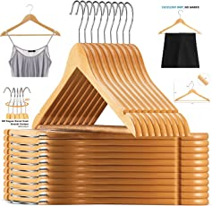Ash&Roh Selected Solid Wooden Hangers with Smooth Finish and Human Shoulder Design, Natural - 20 Pack