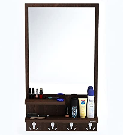 mirror hooks. bluewud rico dressing table with shelves, mirror and hanging hooks (wenge)
