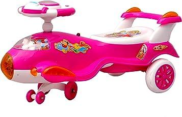 Toyshine Aeroplane Airbus Magic Car Ride-on Toy with 3D Lights (Pink)