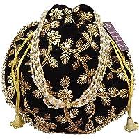 ATHZ Velvet Black Potli Bag Golden work wedding potli for ladies Gift for women handbags traditional Indian Wristlet…