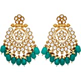 Vanee Traditional Gold Plated Alloy Green Beads and White Kundan Chandbali Earring for Women