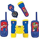 Lexibook- Nintendo Super Mario-Set Completo per Bambini-Walkie-Talkies 120m, Binocolo, Bussola, Torcia, Blu/Giallo