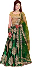Foxstar Fashion Women's Green Taffeta Silk Embroidered Free Size Semi-Stitched Lehenga Choli