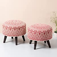 nestroots stool for living room sitting printed standard ottoman upholstered foam cushioned pouffe puffy for foot rest…