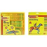 Camel Oil Pastel With Reusable Plastic Box - 50 Shades & Camlin Kokuyo 4192567 24-Shade Full Size Colour Pencil Set (Assorted