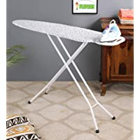 FLIPZON Premium Quality Ironing Board/Iron Table Stand with Press Holder, Foldable & Height Adjustable (Black Writing)