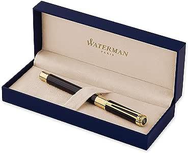 Waterman Perspective Füllfederhalter (hochglänzend Schwarz mit Clip aus 23-karätigem Gold, FederstärkeM, blaue Tinte, Geschenkbox)