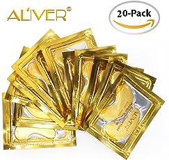 Aliver lusso cristallo 24K Gold gel Collagen Eye Mask, Premium anti Aging, anti rughe prodotti con acido ialuronico, collagene, idratante per sotto gli occhi rughe, rimuovere borse sotto gli occhi, Eye bag, rimovibile sotto gli occhi, occhiaie, cura della pelle, idratante, occhi gonfi. Regali per donne (15coppie)