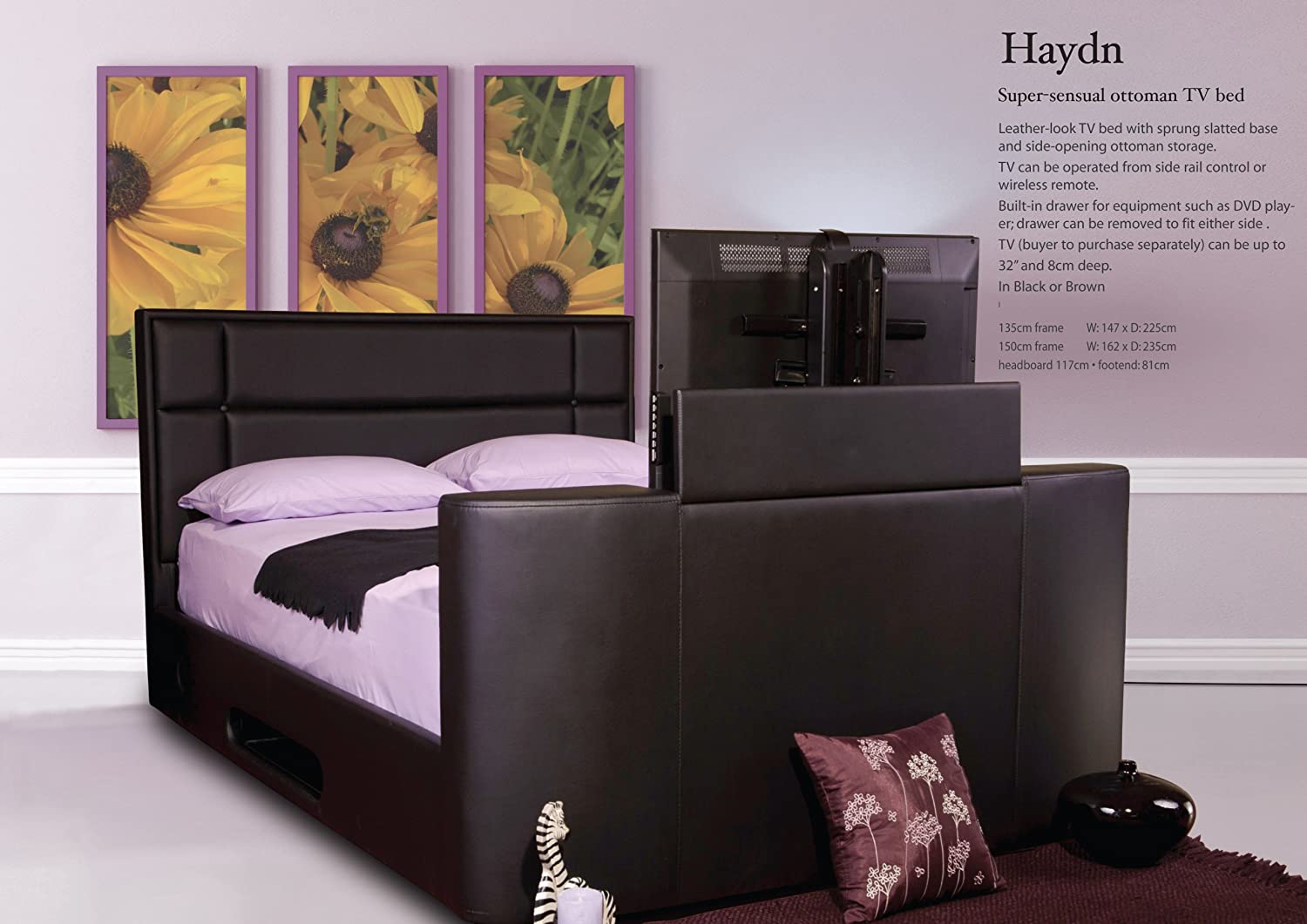 Bed With Tv Built In Sweet Dreams Haydn King Size Ottoman Tv Bed Brown Amazoncouk