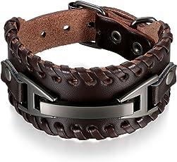 Herren Armband Leder Armband schwarz, Breite Geflochten Lederarmband Surferarmband Armreifen, verstellbar (Verstellbar Armband)