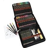 Crayon de Couleurs Professionnel de Dessin Art Set - Materiel Dessin Inclus Crayons Couleur,Crayons Fusain et Accessoire Dess