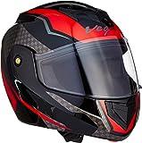 Vega Crux DX Checks Full Face Helmet (Black and Red, Large)