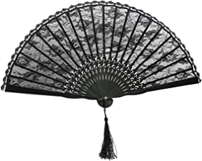 ULTNICE Spanish Floral Folding Hand Fan Vintage Handheld Lace Folding Fan for Wedding Party Dancing Favor Fancy Dress Photo Props Home Decoration